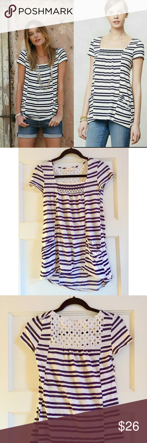 Navy and white Striped Marin Tunic Striped tunic with lace back detailing and pockets Anthropologie Tops Tunics