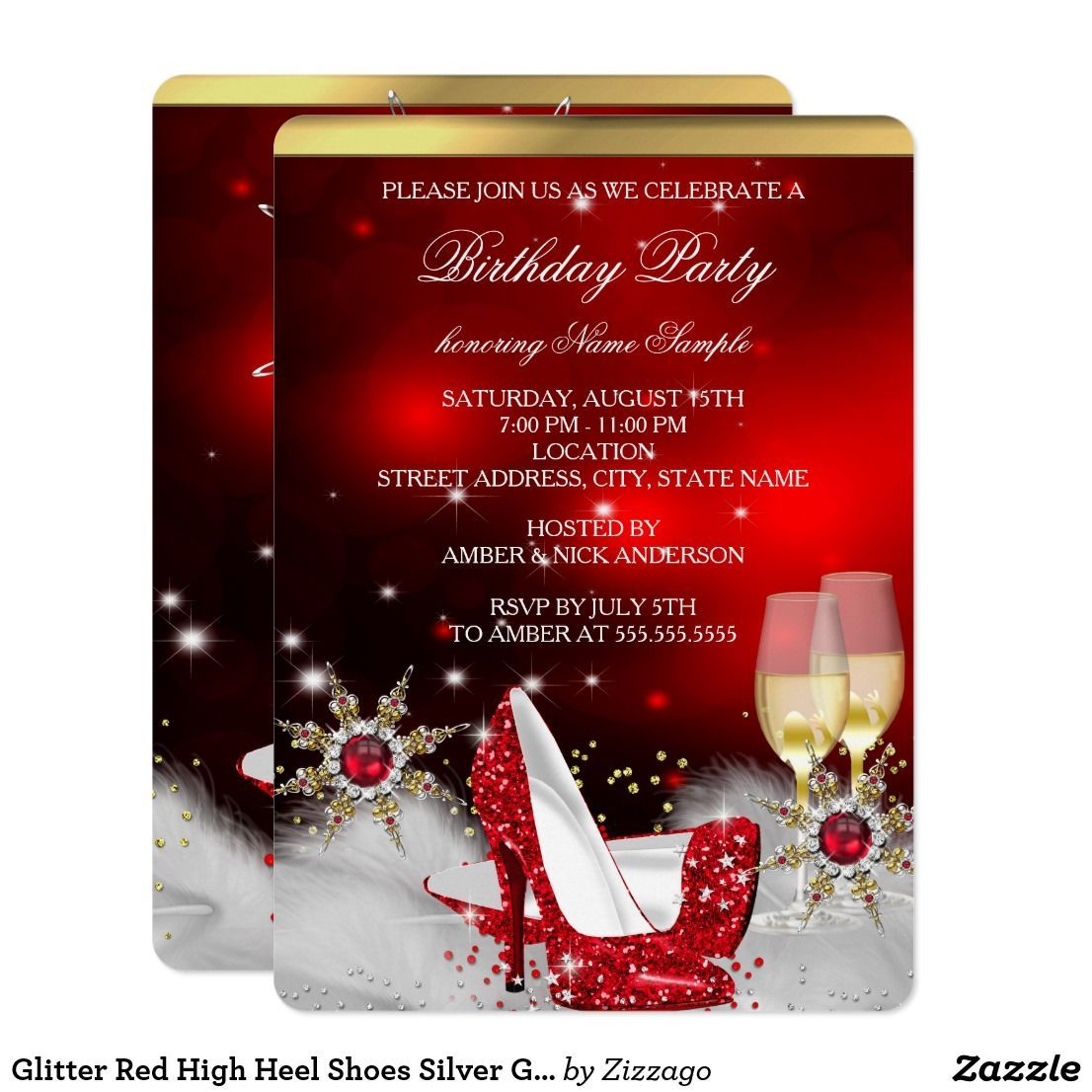 Glitter Red High Heel Shoes Silver Gold Champagne Card Glitter Red ...