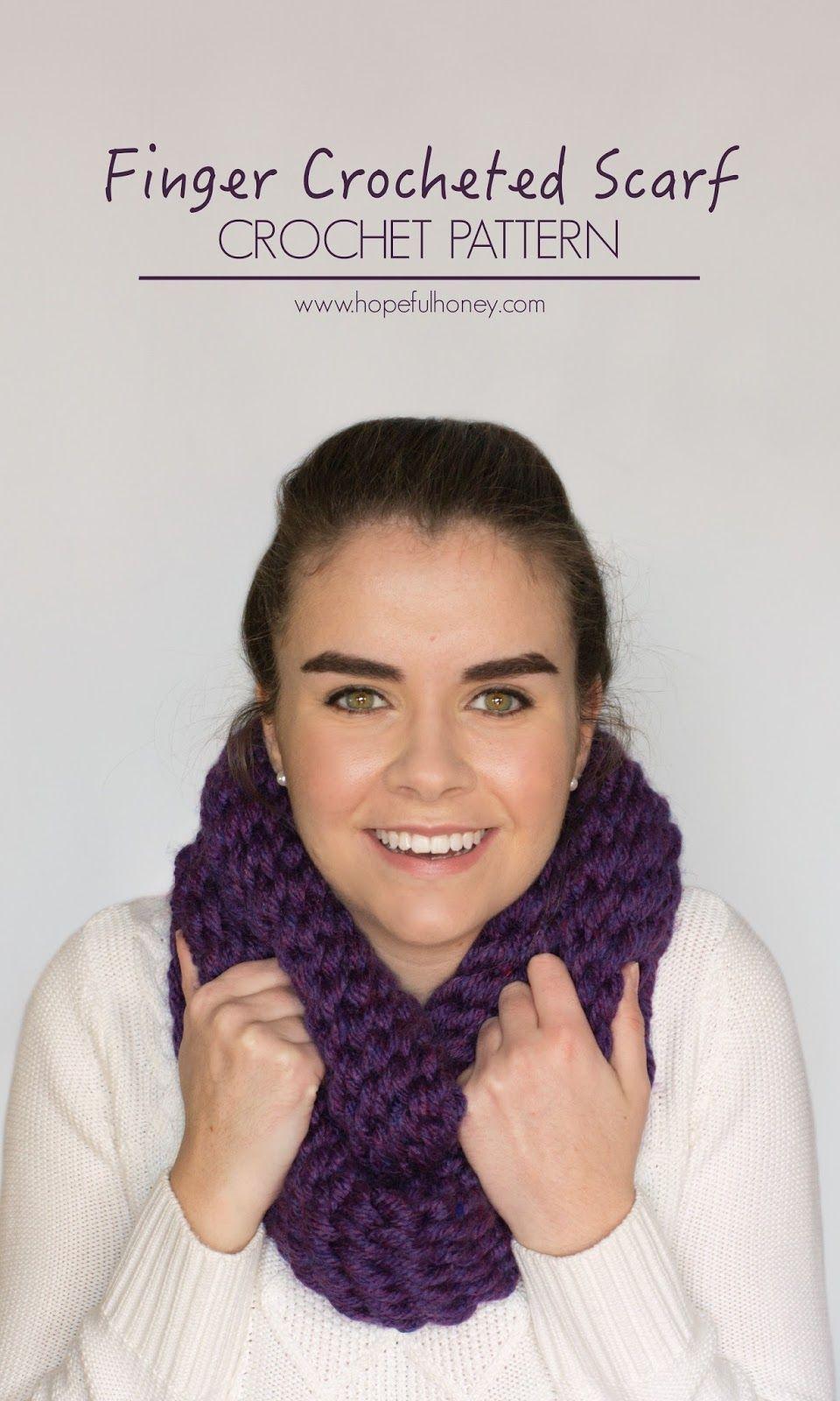 Chunky Finger Crocheted Scarf Pattern | Finger crochet, Crochet ...