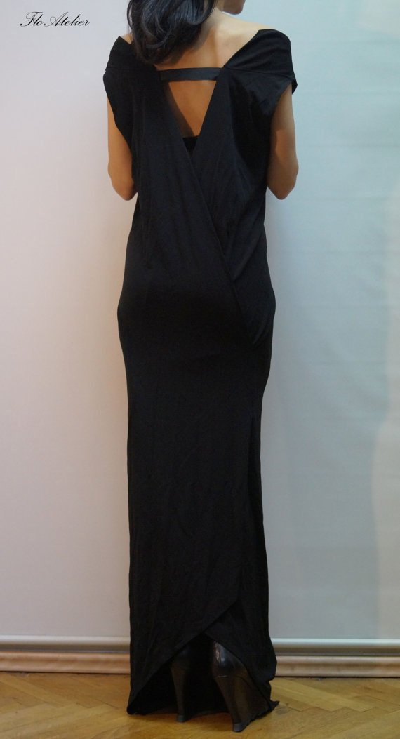 0448c3d5580c Casual Maxi Dress  Loose Open Back Black Dress  Extravagant Dress Party  Dress Asymmetrical Dress F14