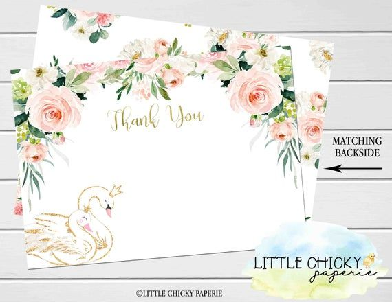 Swan Thank You Card, Floral Swan Thank you card, Baby Shower Thank you card, Digital Thank you card, Digital Card, instant download
