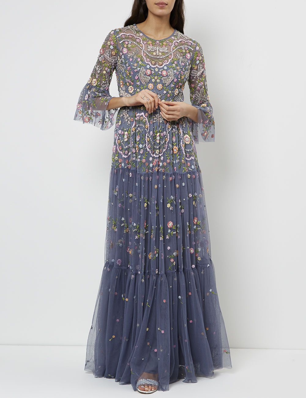 c573515f82a Slate Blue Dragonfly Garden Maxi Dress Blue Dragonfly