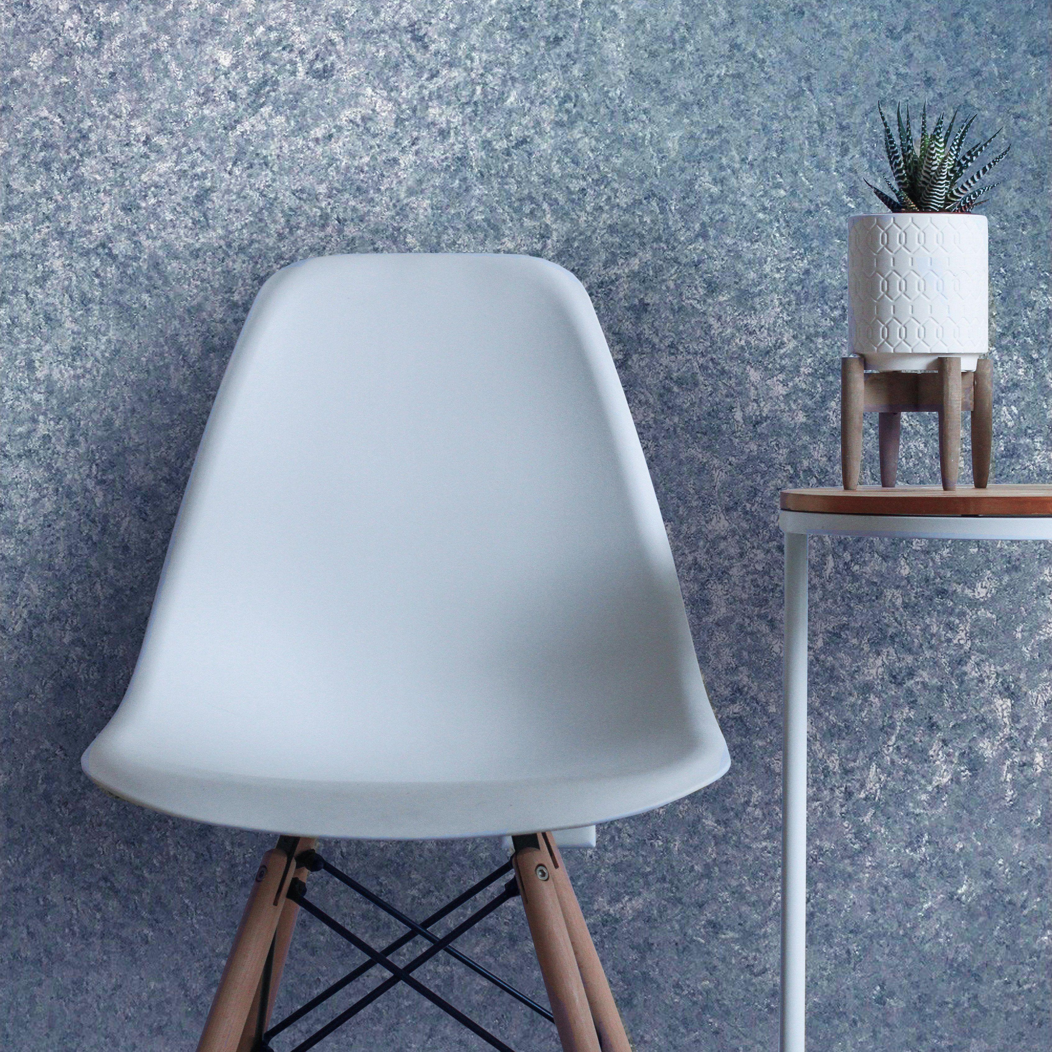 851303 Blue Plain Metallic Textured Wallpaper Textured