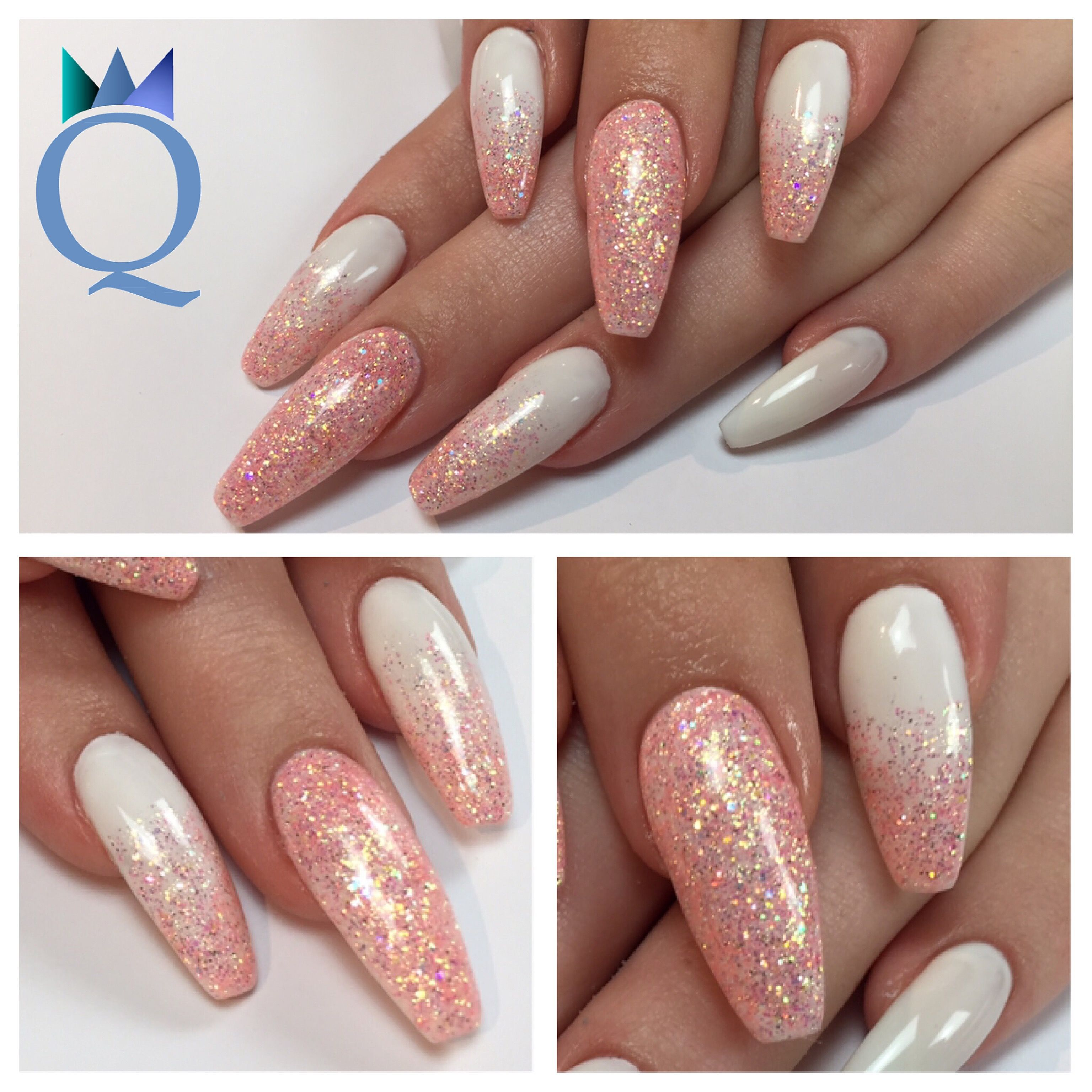Nageldesign Weiß Rosa Coffinnails Ballerinashape Gelnails Nails White Yvesswiss
