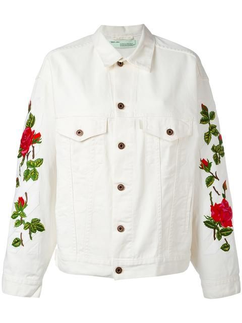 a0467afbe2a4 Shop Off-White rose embroidered jacket.