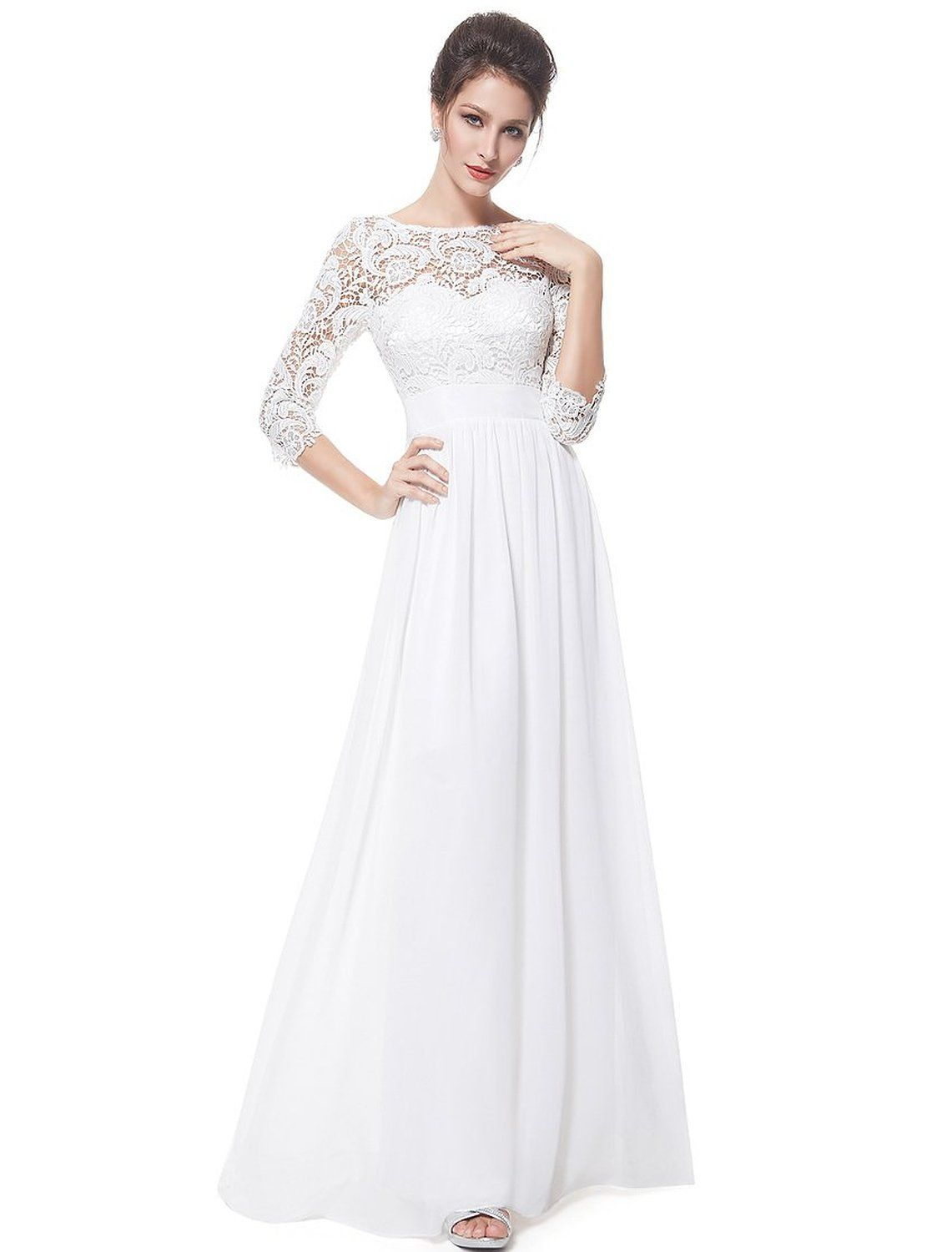 5889df56 Ever Pretty Women's Lace Long Sleeve Floor Length Evening Dress 08412 at  Amazon Women's Clothing store: