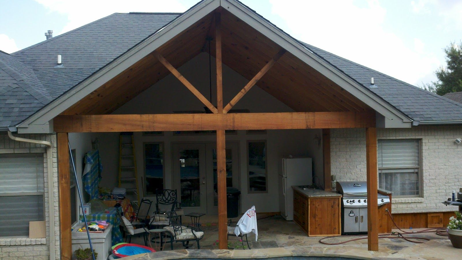 How Did You Tie In The Side Of That Above Gable To The Existing Hip Roof Description From Parkerrenovations Blogspo Covered Patio Cost House Roof Porch Design