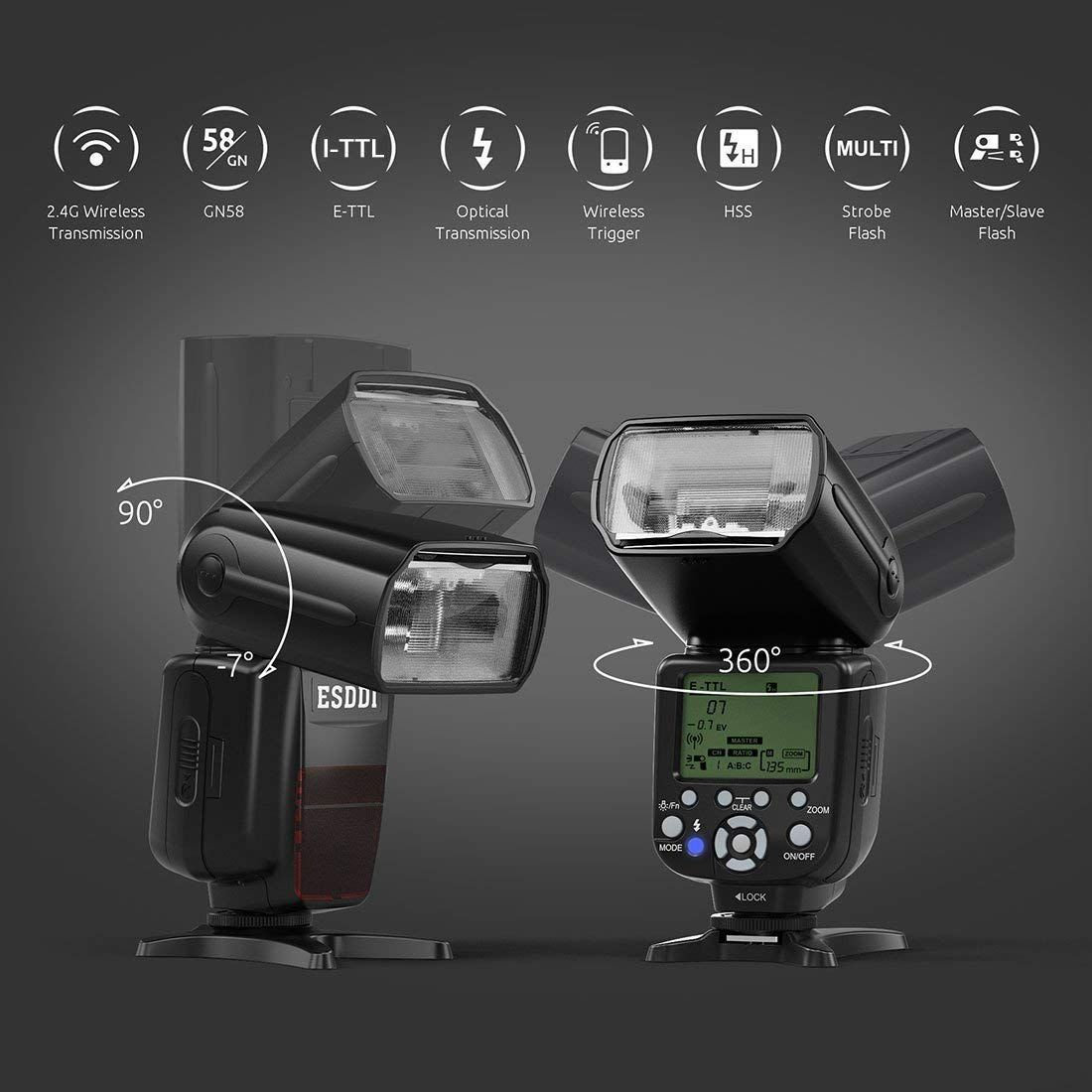 ESDDI Nikon Flash, 1/8000 HSS Wireless Flash Speedlite