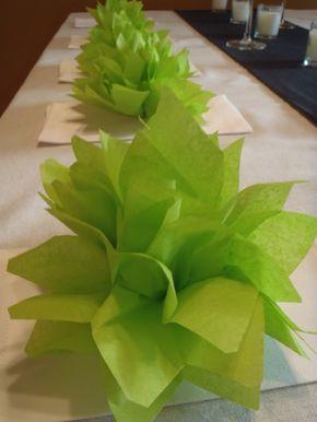 100 Citrus Green Paper Dahlia Napkin Rings. Perfect for weddings, baby showers, dinner parties, birthdays, decor. Tissue paper pom pom