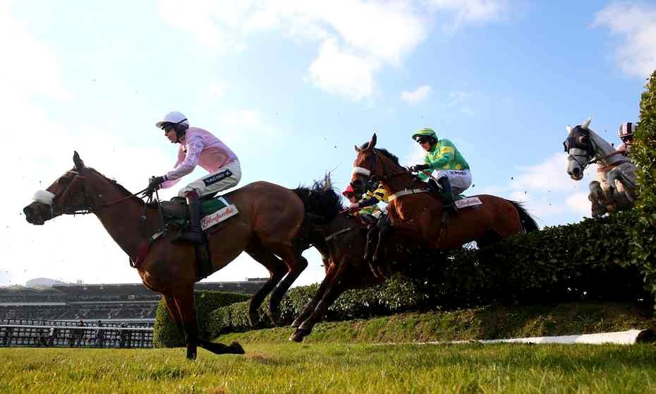 Any Currency ridden by Aidan Coleman leads over a flight in the Glenfarclas Chase.