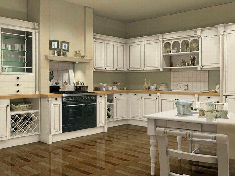 estantes de cristal en la cocina clásica moderna Bílé a krémové