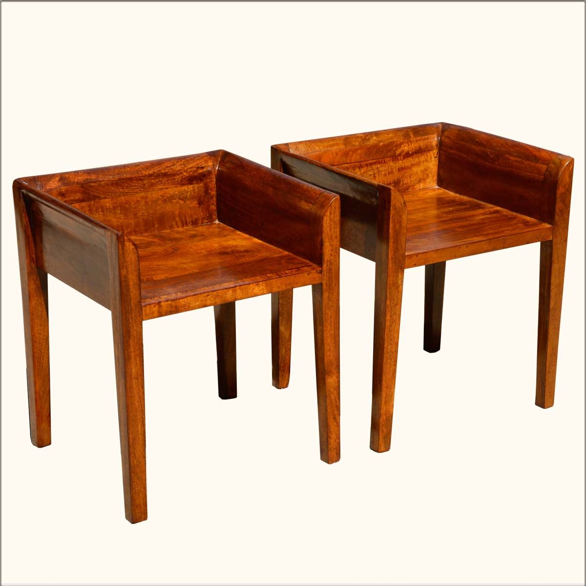 Set Of 2 Contemporary Solid Mango Wood Low Back Chairs