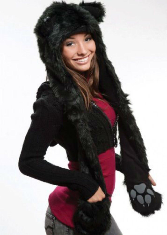 Black cat anime faux animal hood hoods spirit paws ears