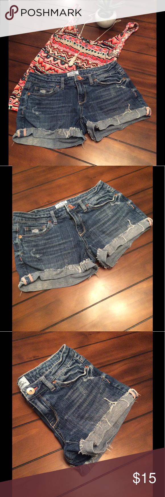 Aeropostale Denim Shorts Distressed Aeropostale Denim Shorts with fringes on the rolled leg. Medium Wash. JB Aeropostale Shorts Jean Shorts