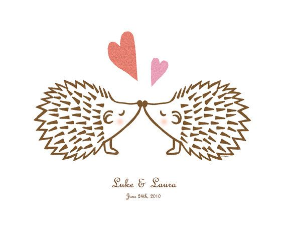 Hedgehog Love Illustration Print Custom Name Date Digital File - print anniversary card