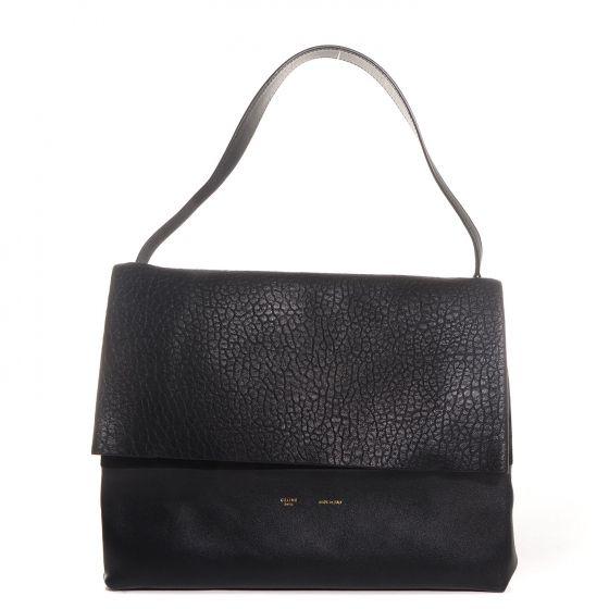 CELINE Shrunken Lambskin All Soft Shoulder Bag in Black.