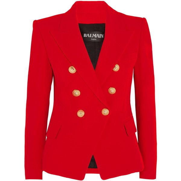 Balmain Double-breasted crepe blazer (6.795 BRL) ❤ liked on Polyvore featuring outerwear, jackets, blazers, shoulder pad blazer, red jacket, crepe blazer, red blazer jacket and balmain jacket