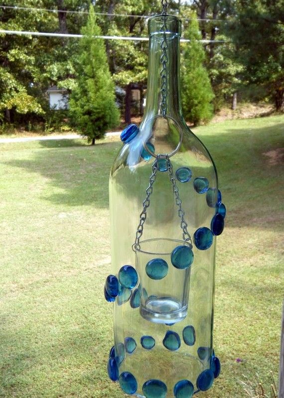Wine Bottle Lantern  Clear 15 ltr Wine by GOINGGREENLANTERNS,
