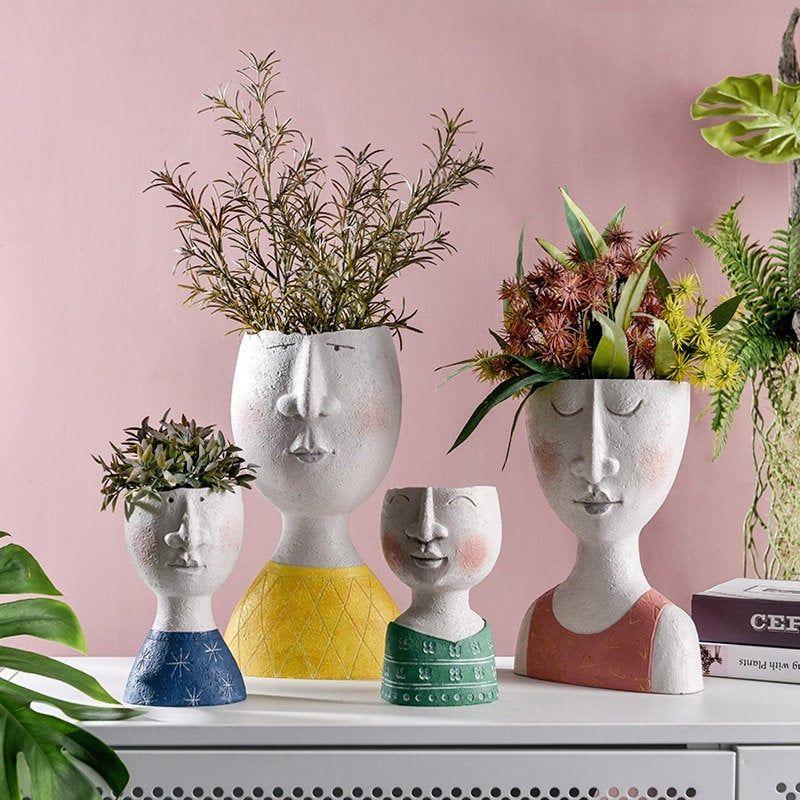 Family Portrait Planter Human Face Planter Indoor Sculpture Human Planter Dried Flowers Vase Modern Family Planter Ar In 2020 Flower Pots Plant Vase Face Planters