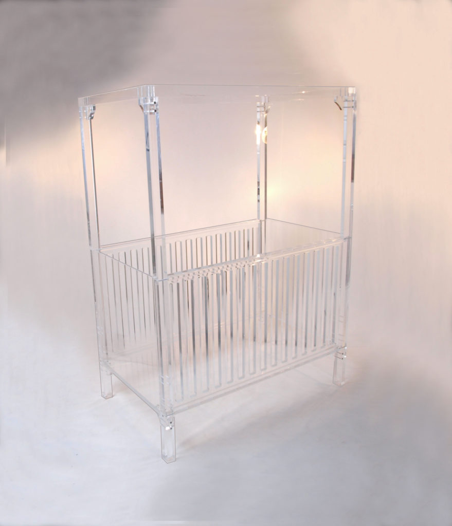 A Sweet Dreams Crib with Canopy Cribs, Lucite furniture