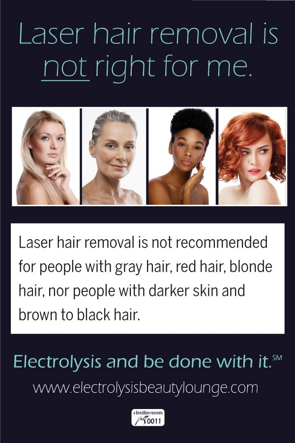 Laser hair removal is not recommended for people with gray