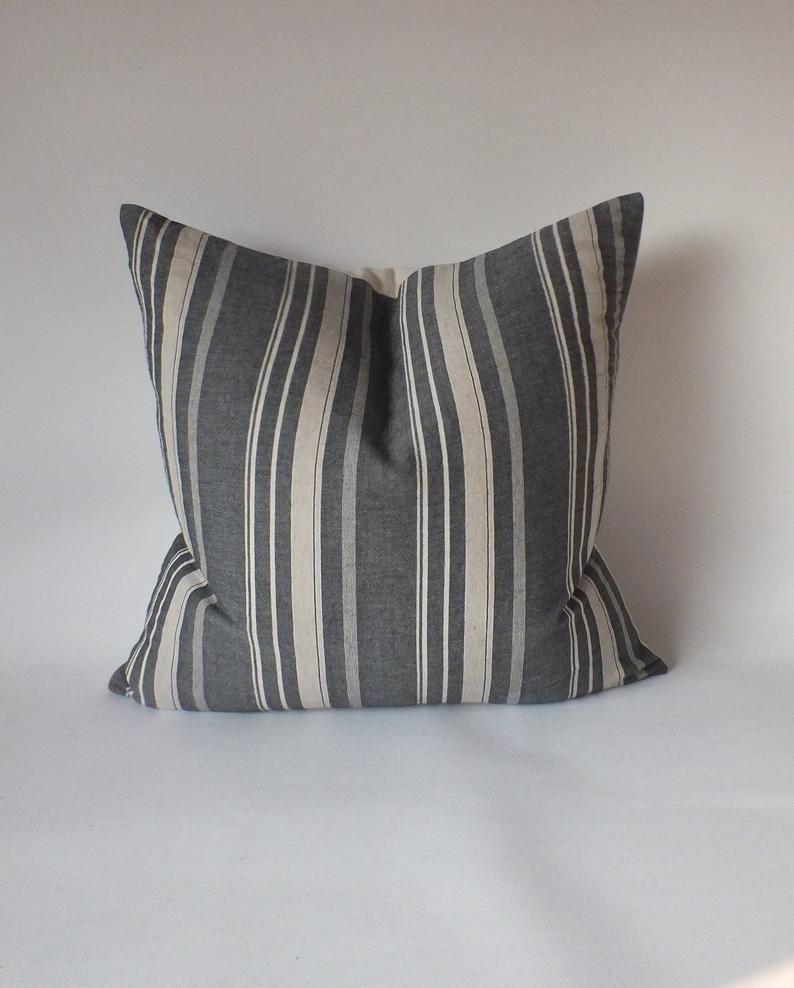 White Grey Striped Sashimi Pillow Cover Decorative Cushion Throw Pillows ethnic pillows Ottoman stool round Pillows Kids' Stools Beanbags
