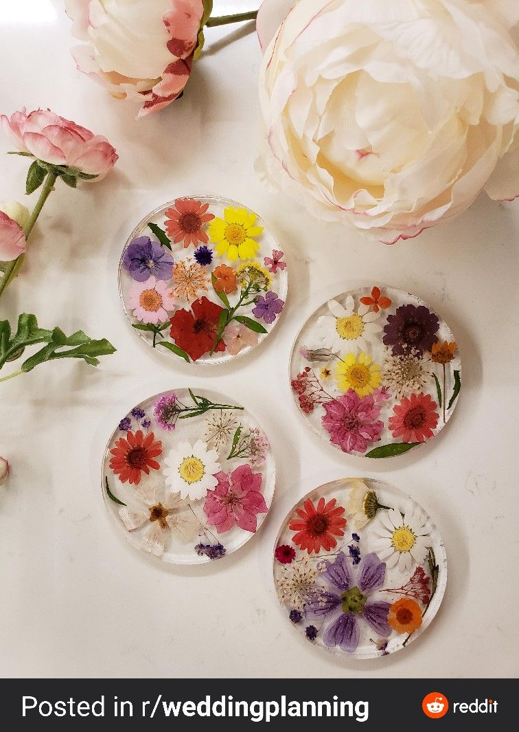 How To Make Festive Pressed Flower Coasters In 2020 Pressed Flowers Flowers How To Make