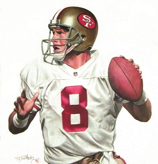 Steve Young Quarterback For The San Francisco 49ers Original Drawing By Dean Huck Nfl Football 49ers 49ers Football San Francisco 49ers Football