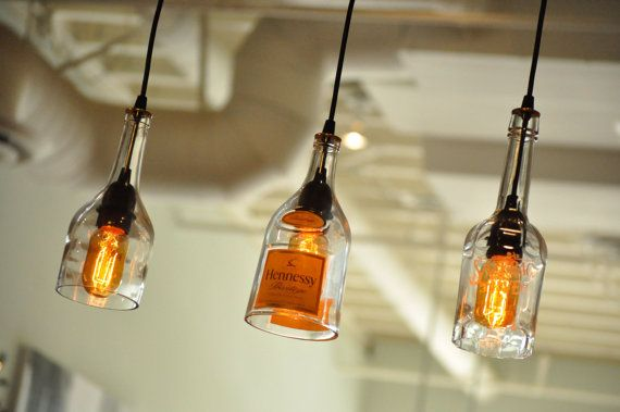 Botella de vidrio reciclado que cuelga Ginebra lámpara colgante con ...