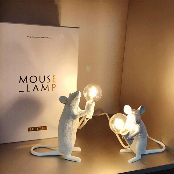 Photo of Creative Mouse Lamp Contemporary Modern Table Resin Sculptur…