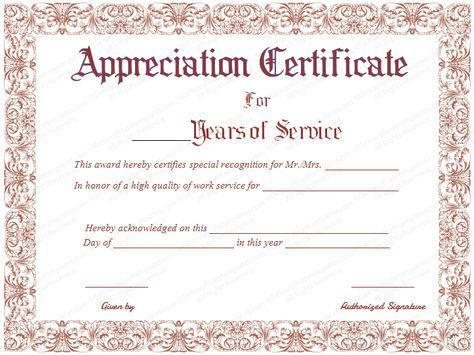 Free Printable Appreciation Certificate For Years Of Service