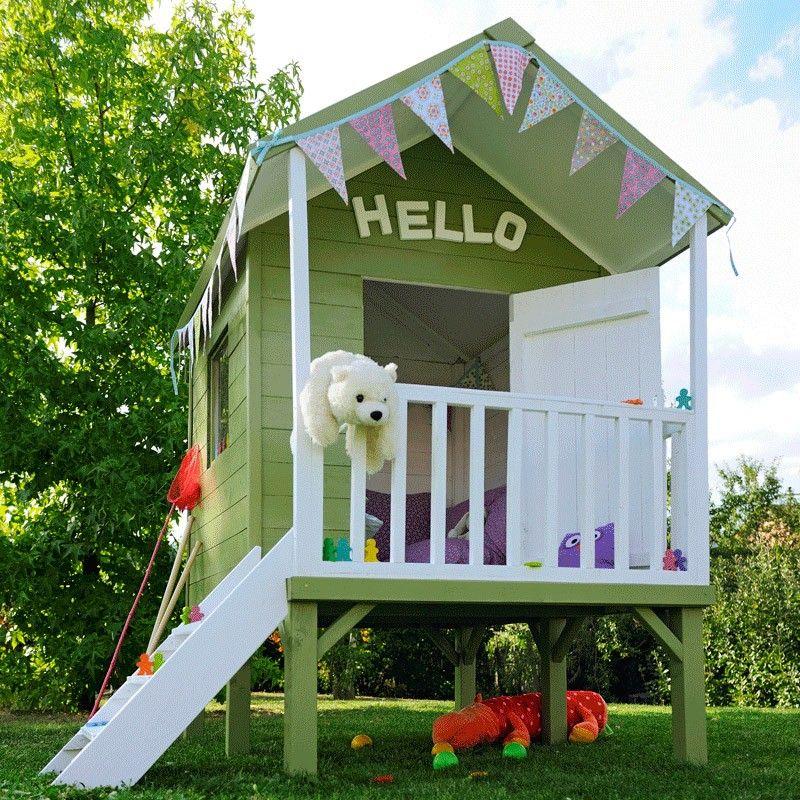 Cabane maisonette enfant Naturelle KANGOUROU + Play houses, Simple - Maisonnette En Bois Avec Bac A Sable