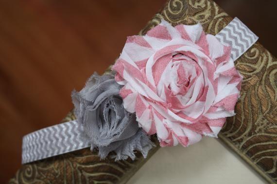 Pink & Grey Chevron Headband - Newborn Headband - Baby Girl Headband - Shabby Chic Flowers