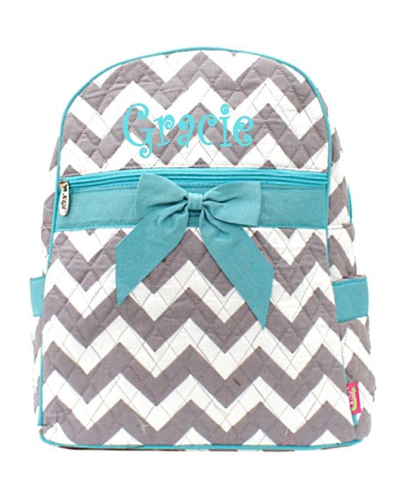 Personalized Girls Chevron Print Quilted Backpack - Gray & Aqua ...