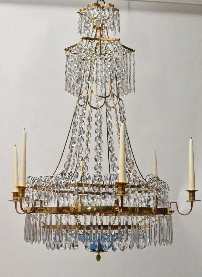 Swedish gustavian gilt bronze and crystal chandelier signed brolin view this item and discover similar chandeliers and pendants for sale at a large important swedish chandelier from the gustavian period made by carl arubaitofo Image collections