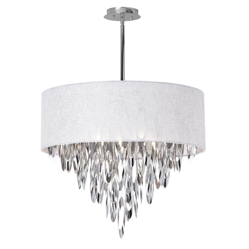 Dainolite 8-light Chandelier with White Shade (Chandelier), Silver (Metal)