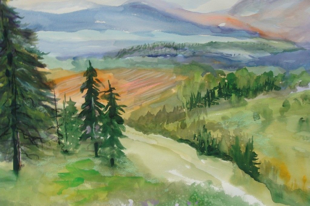 """Orig Watercolor 30"""" 22"""" Landscape Distant View Mountain Pine Trees Beautiful MGS 