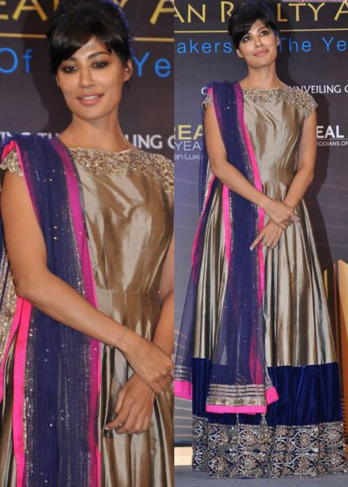 Chitragda Singh Replica Chiku Color Stunning Anarkali Suit : Color : Chiku Fabric :        Top        : Nailon Satin With Velvet        Bottom : Semi Santoon        Dupatta : Nett
