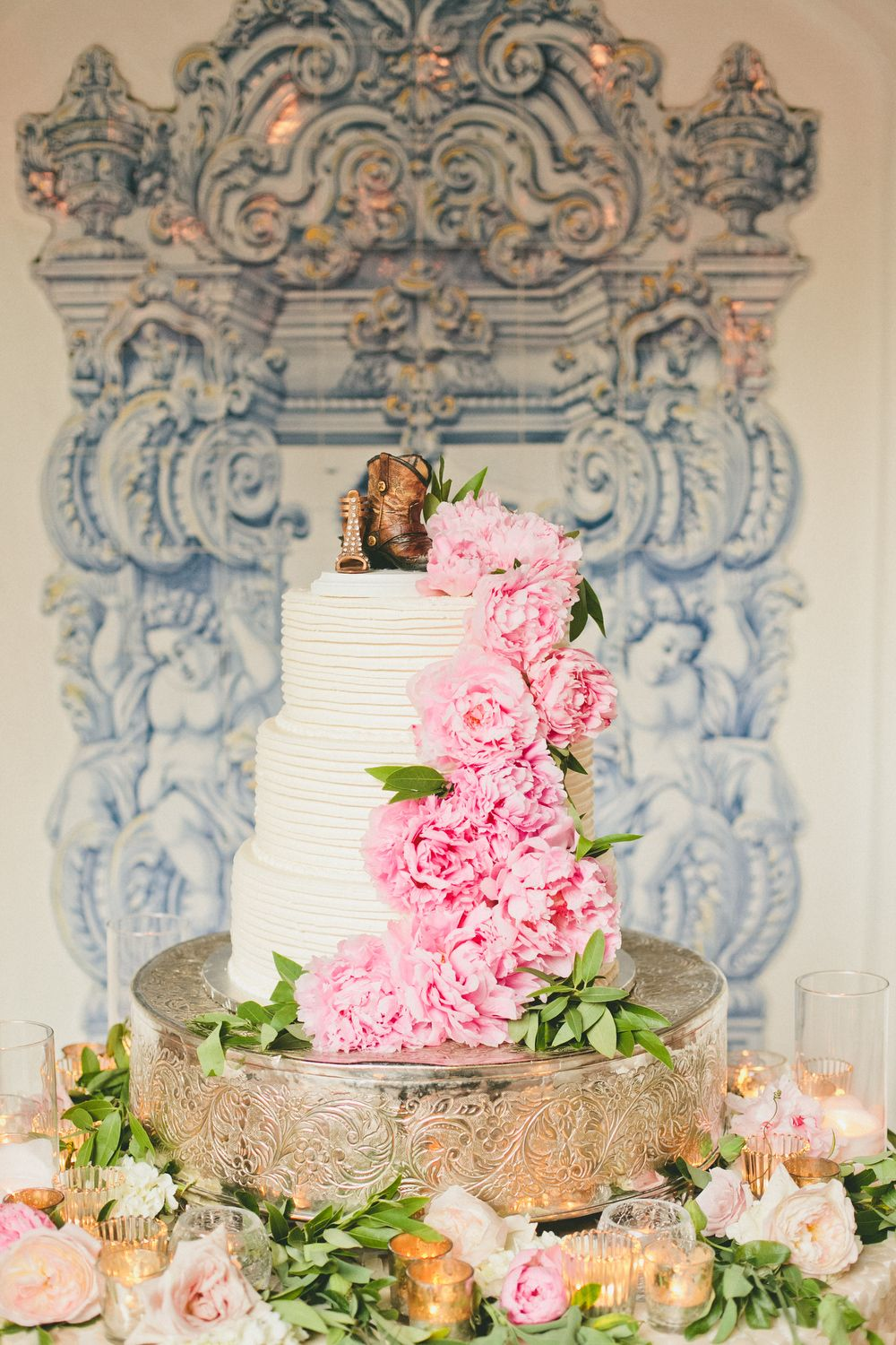 Rancho Las Lomas Wedding Cake Pink Flowers And Shoe Cake Topper