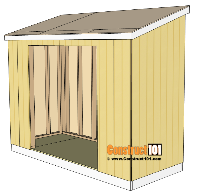 4x10 Lean To Shed Plans Free Pdf Material List Construct101 In 2020 Lean To Shed Lean To Shed Plans Wood Shed Plans