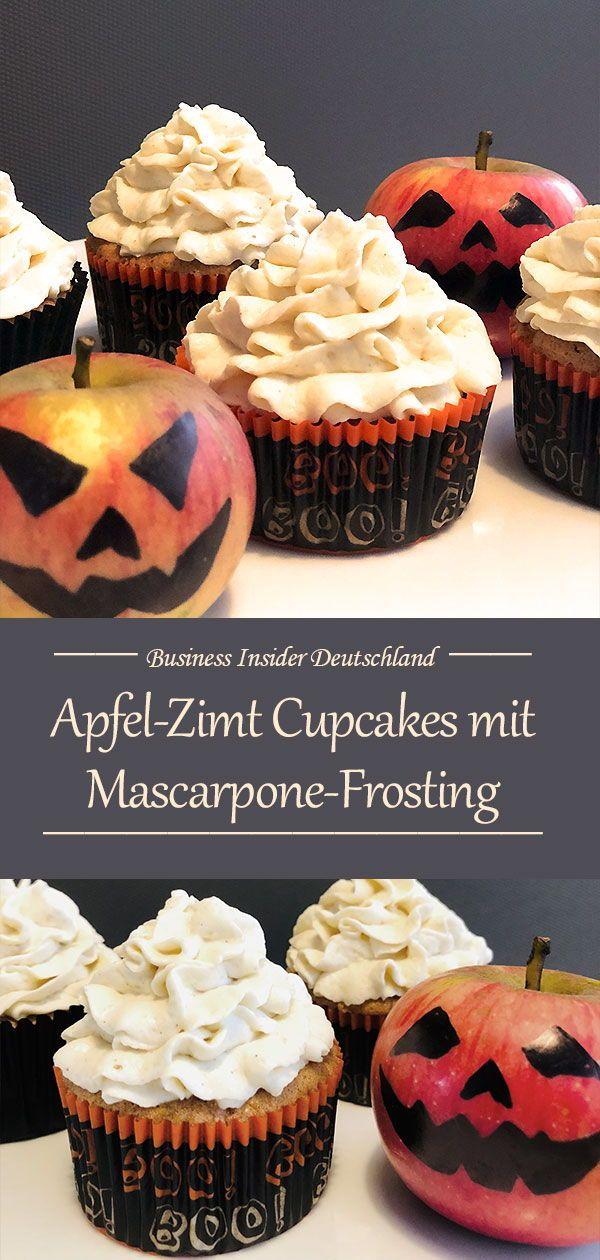 Perfekt für Halloween! Leckere Apfel-Zimt Cupcakes #herbstgerichte