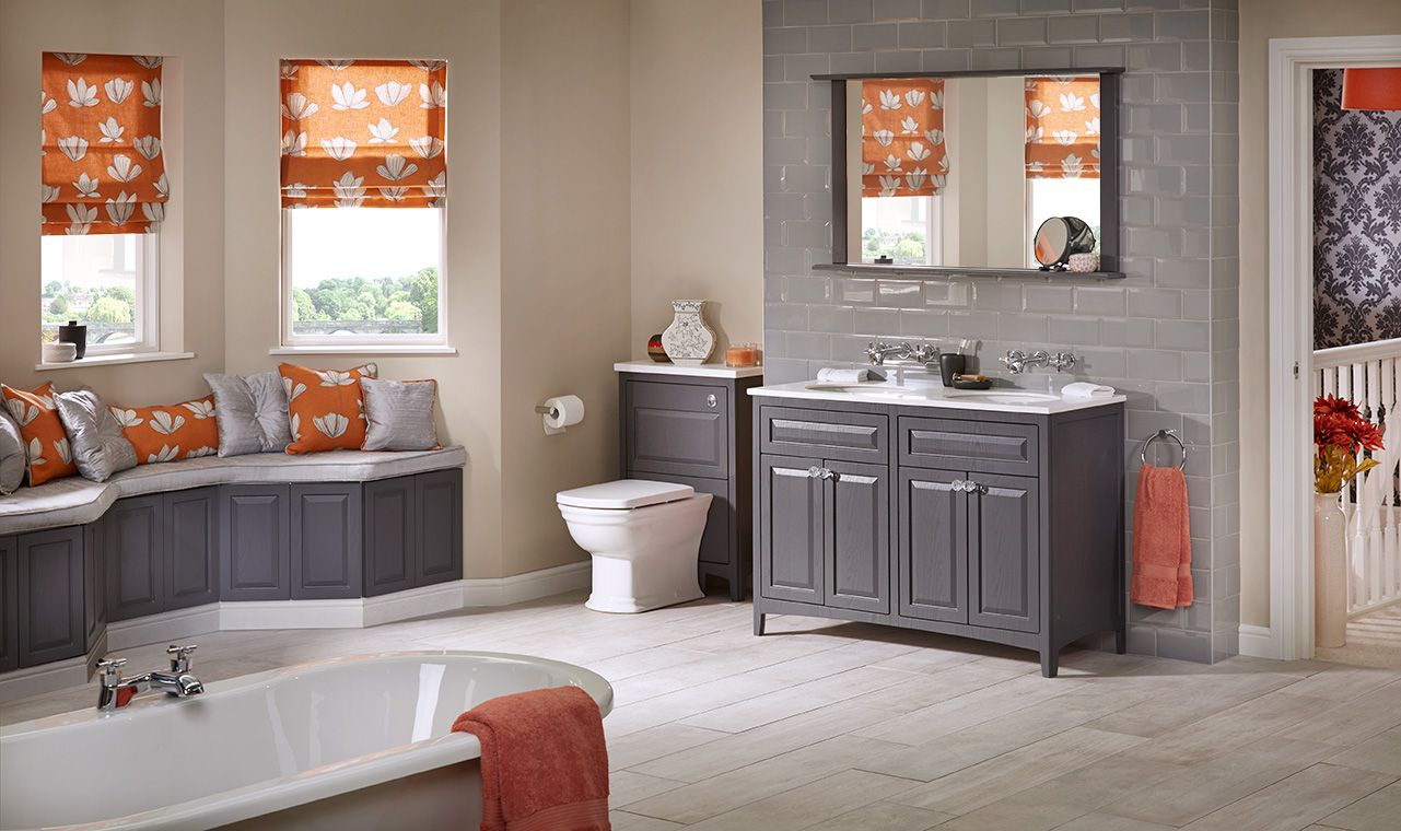 Grey bathroom furniture from Utopia Bathrooms.  Small space