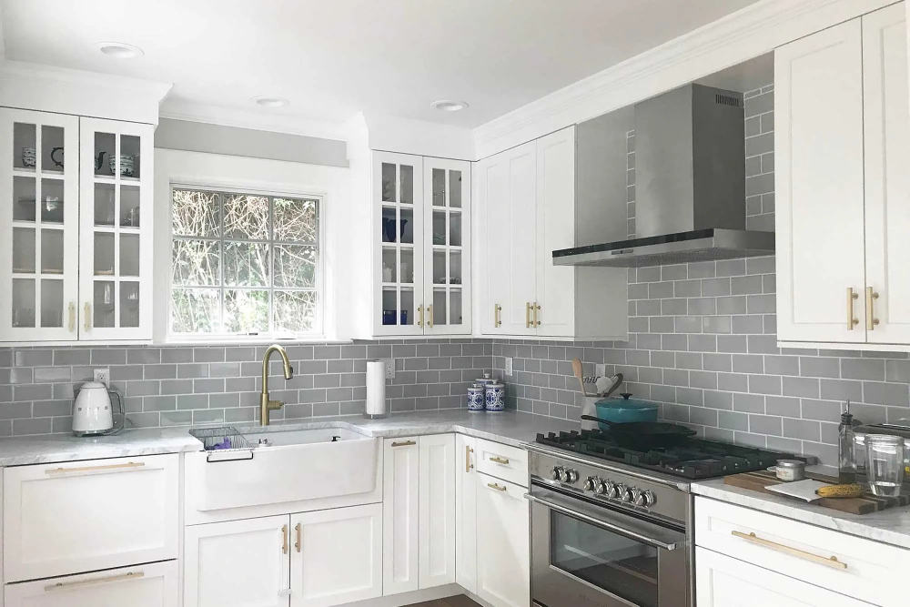 transitional white frameless kitchen with brushed gold hardware cabinets com traditional on kitchen remodel gold hardware id=92081