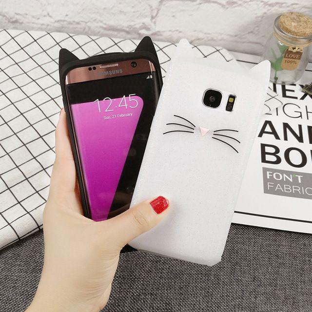 low priced 723e4 d8e6b Cute 3D Glitter Bearded Cat Case For Samsung Galaxy S7 S7 Edge S8 S8 ...