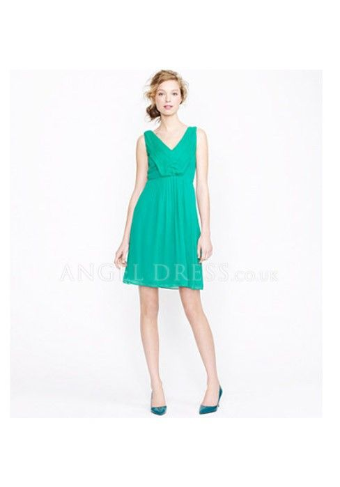 V Neck Zipper up A line Chiffon Short Length Sleeveless Bridesmaid ...