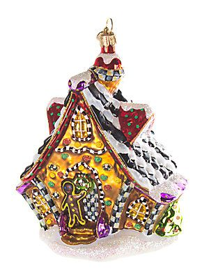 MacKenzie-Childs Gingerbread House Glass Ornament