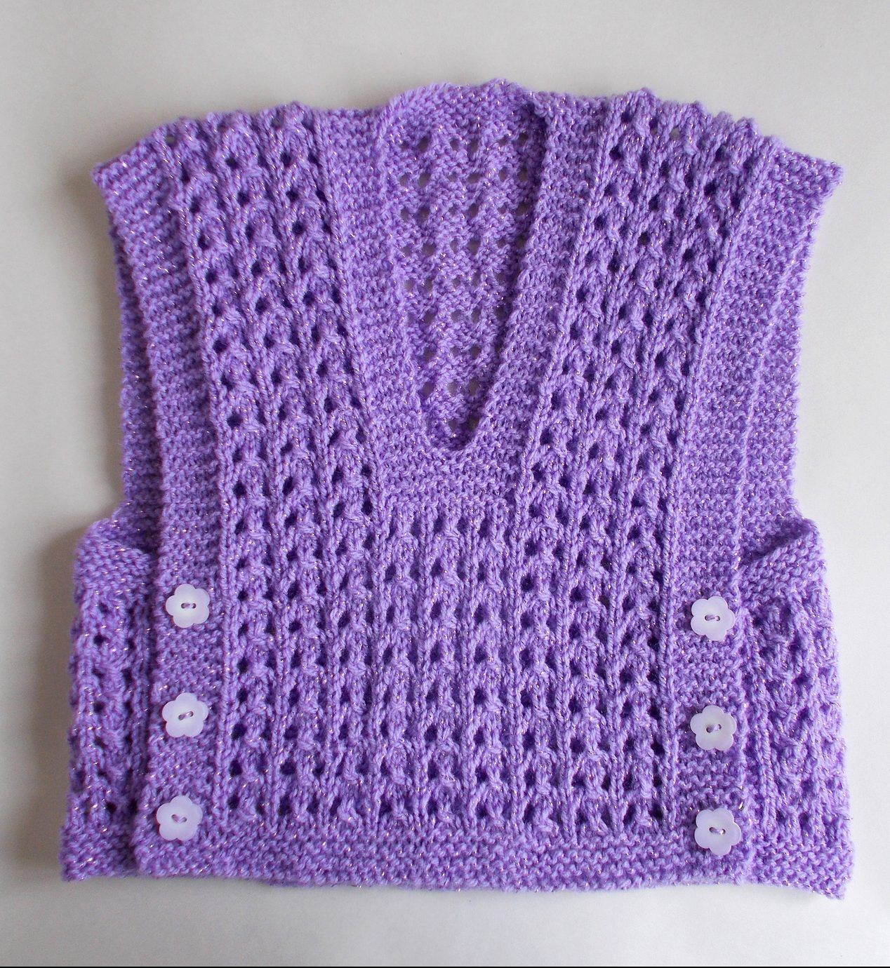 Knitting Pattern Vest Top : Free Knitting Pattern for Melika Lacy Baby Vest Top - marianna mel s easy lac...