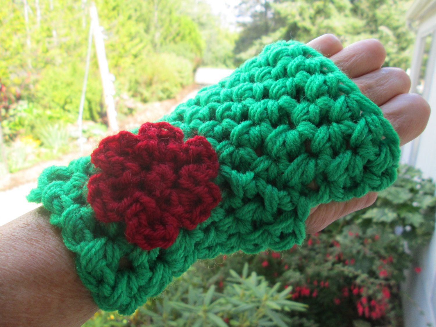 Driving texting gloves - Green Fingerless Gloves With Burgundy Flower By Suzannesstitches Wrist Warmer Driving Gloves Texting Gloves Green Fingerless Gloves