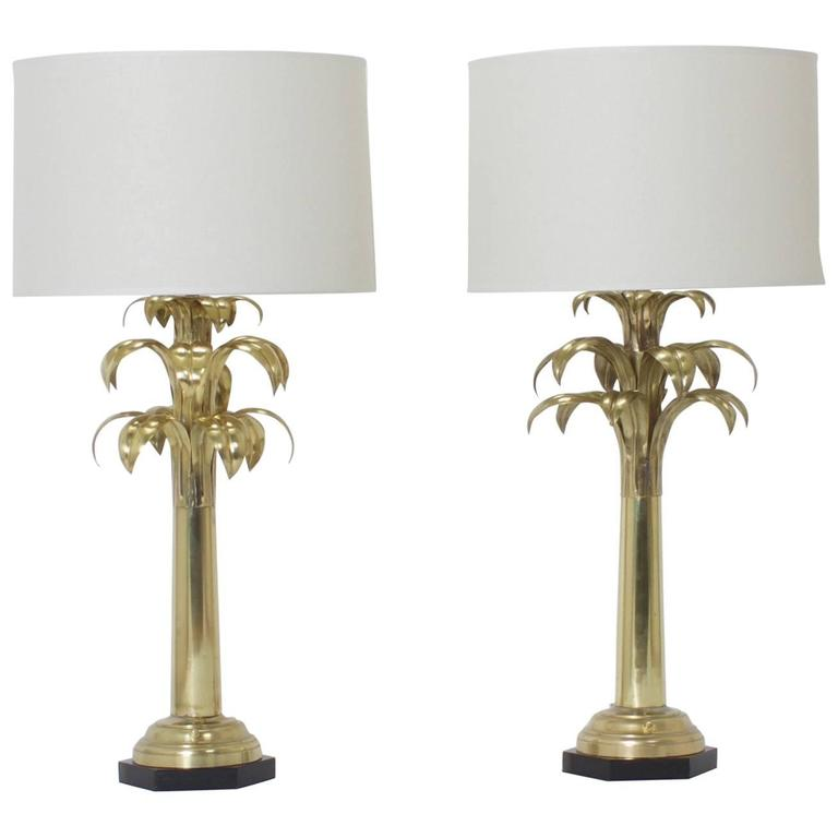 Pair Of Brass Palm Tree Table Lamps Tree Table Table Lamp