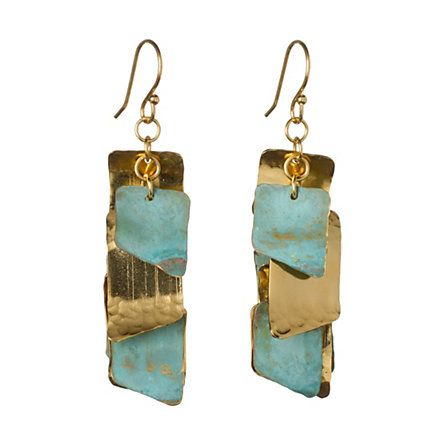 Angled Plates Earrings  $108.00  She loves long, dangly earrings.  #IHeartMyMom